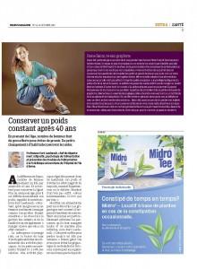 Article Migros Magazine, spécial santé